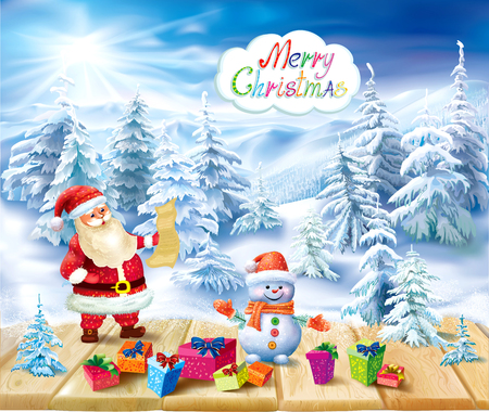Santa Claus and snowman with gifts on snowy winter background. Vector illustration
