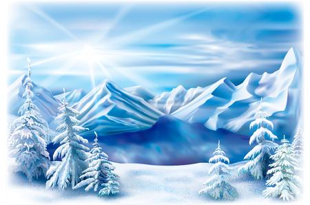 雪に覆われた木々と山の湖の冬の風景。  イラスト・ベクター素材