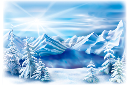 Winter landscape of a mountain lake with snow covered trees. Ilustracja