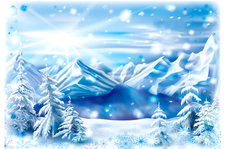 Winter landscape of a mountain lake with snow covered trees. Vector illustration