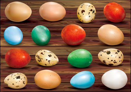 Colorful eggs on a wooden background. Vector illustration