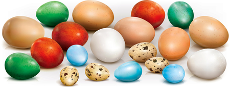 Colorful different eggs on a white background. Vector illustration. Imagens - 95977464