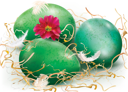 Three green eggs are decorated with dry grass, feathers and a red flower. Vector illustration.
