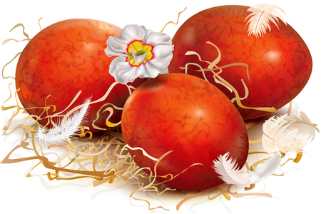 Three red eggs are decorated with dry grass and feathers. Vector illustration