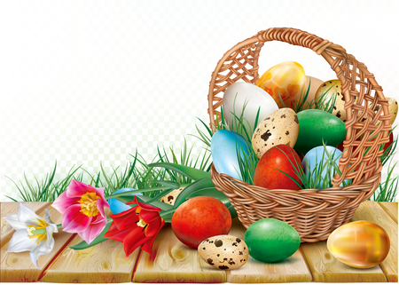Basket with easter eggs is decorated colorful tulips on a wooden background. Vector illustration Illustration