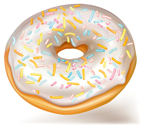 Icon of donut with white glaze on white background.