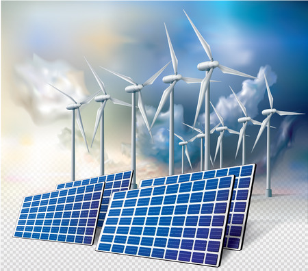 Solar panel and wind turbine on a white background. Vector illustration