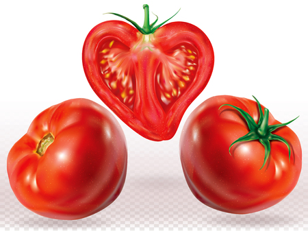 Tomatos whole and sliced on a white transparent background