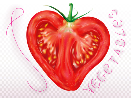 Sliced tomato in the shape of a heart on a transparent background. Vector illustration Ilustrace