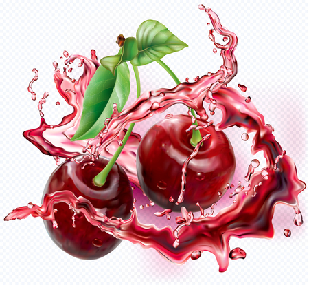 Cherry into of burst splashes of juices on white. Vector illustration Stock Illustratie