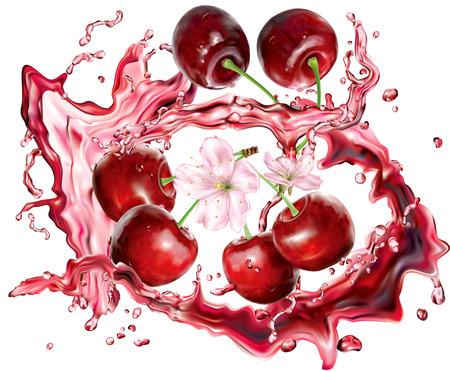Cherry into of burst splashes of juices on white. Vector illustration Иллюстрация