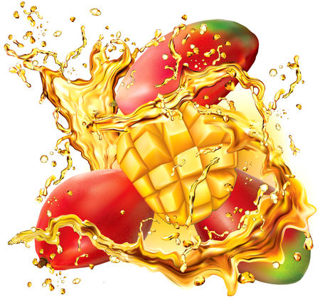 Mango into of burst splashes of juices on white. Vector illustration
