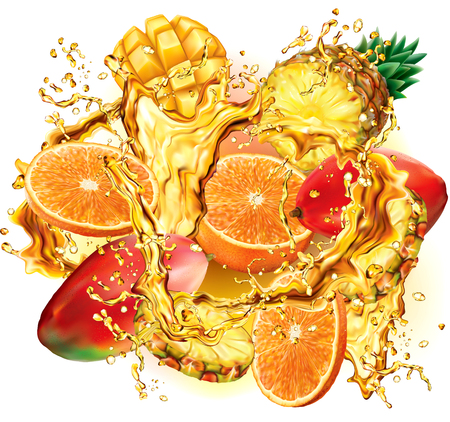 Mix tropical fruits into of burst splashes of juices on white. Vector illustration Иллюстрация