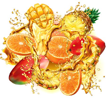 Mix tropical fruits into of burst splashes of juices on white. Vector illustration Ilustrace