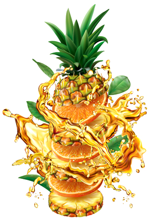 Slices of Orange and Pineapple into of burst splashes of juices. Vector illustration