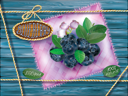 Blueberry fruits with leaves and flower on a motley cloth and wooden background. Vector packaging illustration Иллюстрация