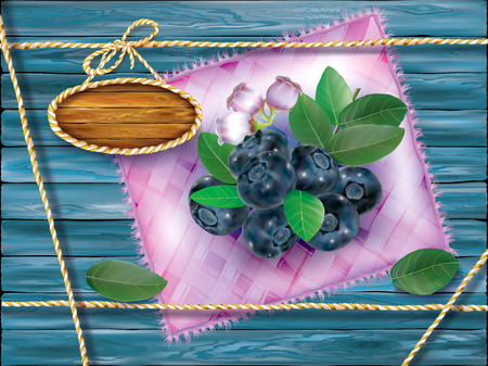 Blueberry fruits with leaves and flower on a motley cloth and wooden background. Vector packaging illustration