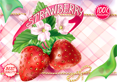 Strawberry fruits with leaves and flower on a pink motley background. Vector packaging illustration