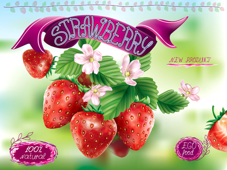 Strawberry fruits with leaves and flower on a green background. Vector packaging illustration