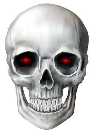 Skull with red light in the eye pits on a white background. Vector illustration