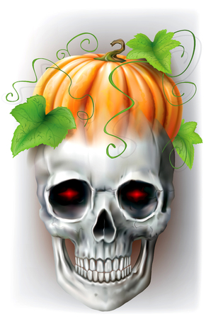 Skull with pumpkin and leaves on the head on a gray background. Vector illustration Illustration