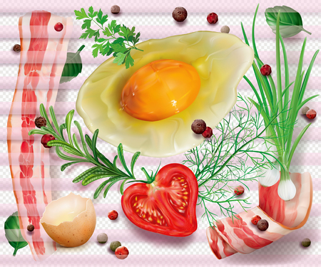 Composition with bacon, egg and aromatic herbs and spices on a transparent background. Vector mesh illustration Vettoriali