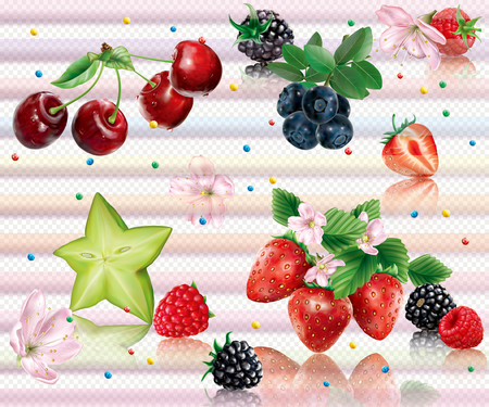 Composition with berries and flowers on a transparent background. Vector mesh illustration