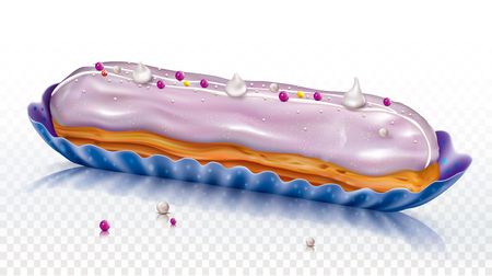 Eclair cake, log shaped pastry with pink icing. Vector mesh illustration Illustration