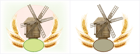 Wheat and retro windmill symbol a agriculture product. Mesh vector illustration Standard-Bild - 124882641