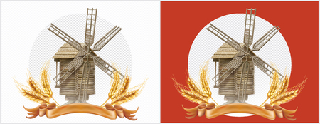 Wheat and retro windmill symbol a agriculture product. Mesh vector illustration Standard-Bild - 124882642