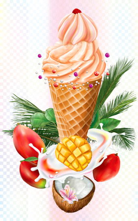 Ice Cream in waffle cones with mango and coconut decorated palm leaves on white background. Mesh vector illustration Ilustração