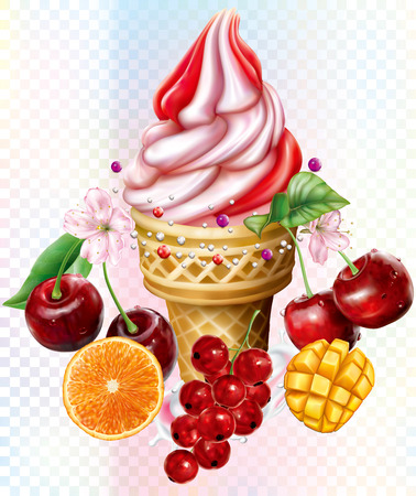 Icecream in waffles cones with cherry red currant mango citrus on white background. Mesh vector illustration