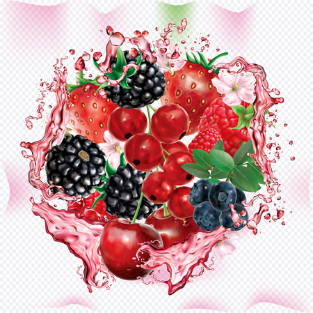 Berries mix into of burst splashes of juices. Strawberry, raspberry, cherry, blackberry, blueberry, red currant. Vector mesh illustration Banque d'images - 124902864