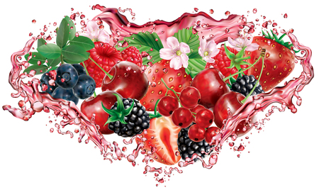Berries mix into of burst splashes of juices on white background in triangular composition. Strawberry, raspberry, cherry, blackberry, blueberry, red currant. Vector mesh illustration Banque d'images - 124902867