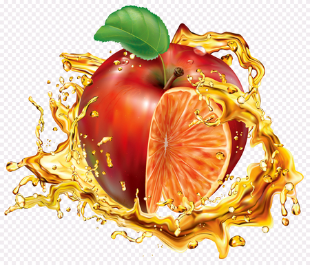 Orange and apple mixed juices into of burst splashes on white. Vector mesh illustration Ilustração