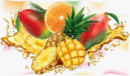 Tropical mix into of burst splashes of juices. Orange, Pineapple, Mango. Vector mesh illustration