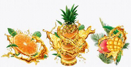 Pineapple, Orange and Mango in splashes of juice on transparent background. Vector mesh and curves illustration Illusztráció