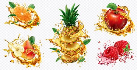 Pineapple, Orange, Apple, Pear and Raspberry in splashes of juice on transparent background. Vector mesh and curves illustration Stock fotó - 131720908