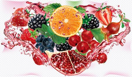 Berries and citrus juice. Berries mix into of burst splashes of juices on white background in triangular composition. Orange, pomegranate, strawberry, raspberry, blackberry, blueberry, red currant. Vector mesh illustration Stock fotó - 131720637