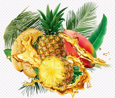Mix splashes of juices Banana, Mango, Pineapple. Vector mesh and curves illustration Stock fotó - 131720558
