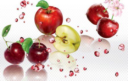 Mix splashes of juices Apple, Cherry, Plum. Vector mesh illustration