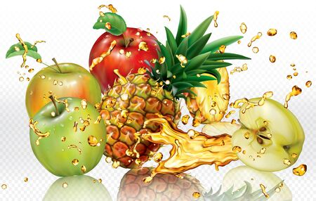Mix splashes of juices Apple and Pineapple. Vector mesh illustration