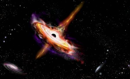 Quasars galaxies with Black Hole in centrum in a deep space. Artist's conception illustration