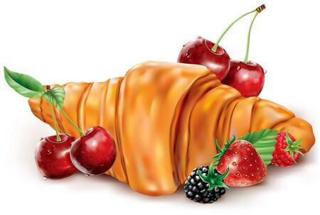 Fresh croissant with berries cherry blackberry strawberry raspberry. Vector mesh illustration