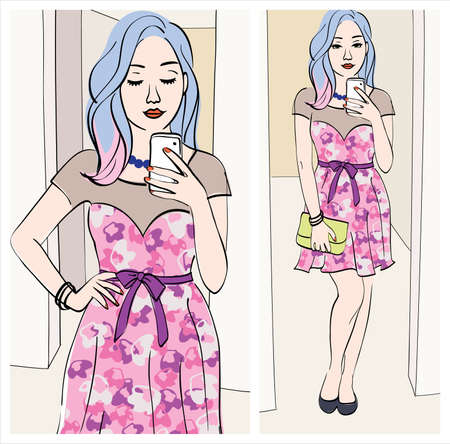 choosing clothes: fashion selfie: Illustration of a girl taking a mirror selfie with cute outfit