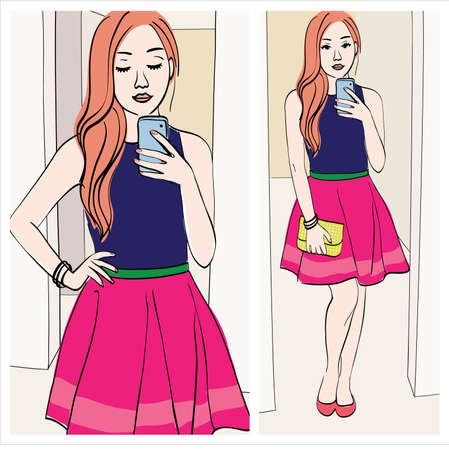 choosing clothes: ginger blogger: Illustration of a girl taking a mirror selfie with cute outfit Illustration