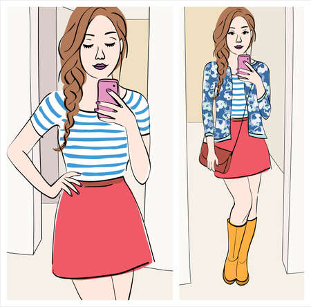 choosing clothes: look of the day: Illustration of a girl taking a mirror selfie with cute outfit Illustration