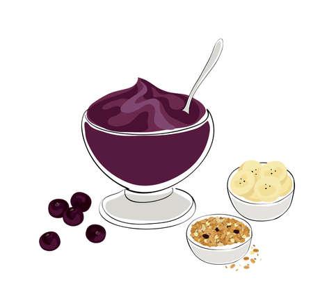 antioxidant: healthy breakfast: illustration of an acai bowl with granola and banana