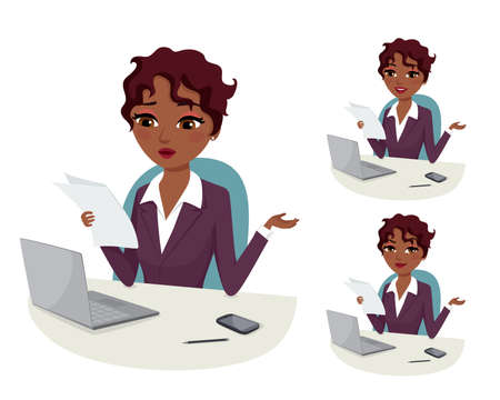 happy business woman: Doubts business: businesswoman with laptop reading a document at her office