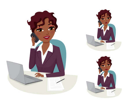 african business: African American business woman on the phone in her office